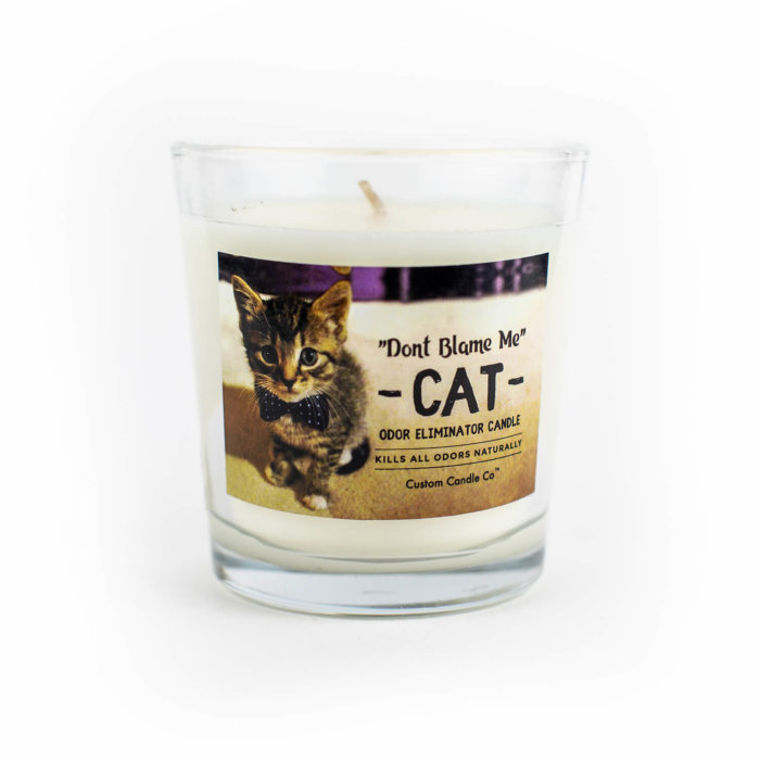 Don't Blame Me Cat Candle on White Background