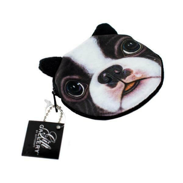 Coin purse with the face of a boxer dog