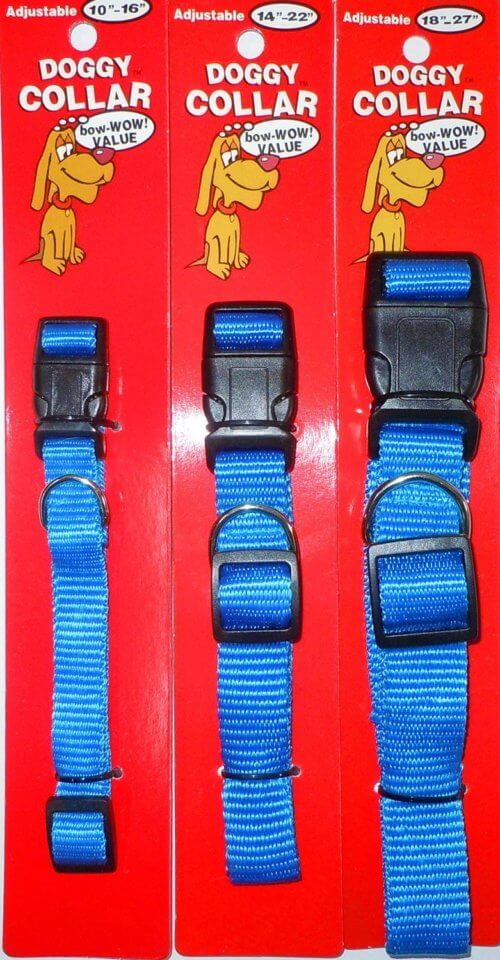 Blue Dog Collar Adjustable Small Medium or Large - BLUE