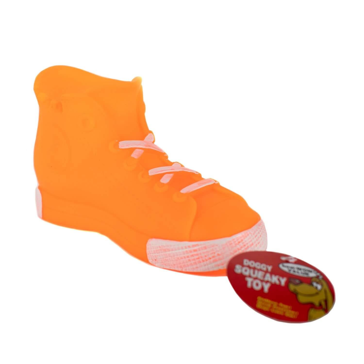 Orange High Top Squeaky Toy Side View