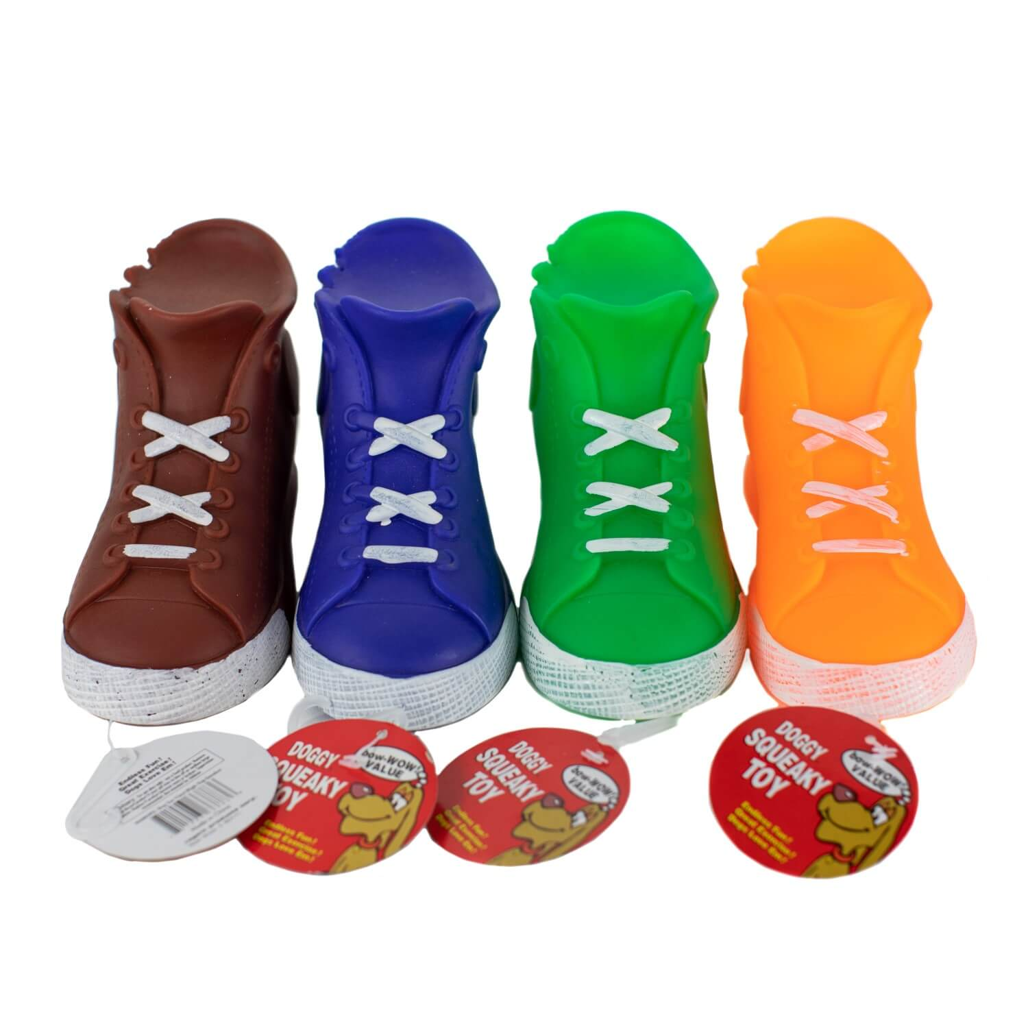 Squeaky High-Top Sneakers in Brown, Blue, Green and Orange