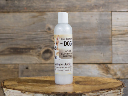 8-oz Lavender Apple Dog Shampoo on Wooden Background