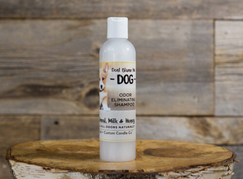 8-oz Oatmeal Milk & Honey Dog Shampoo on Wooden background