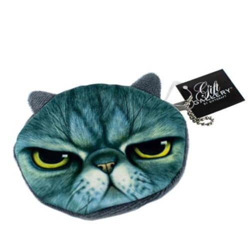 clutch with the face of an angry green cat