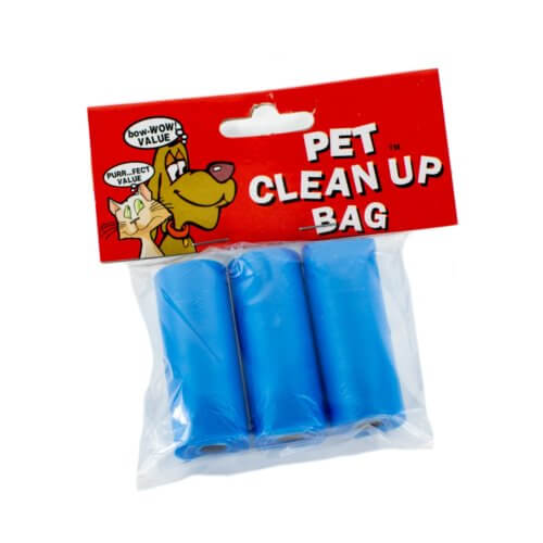 three blue refill waste bags
