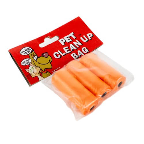 three orange refill waste bags