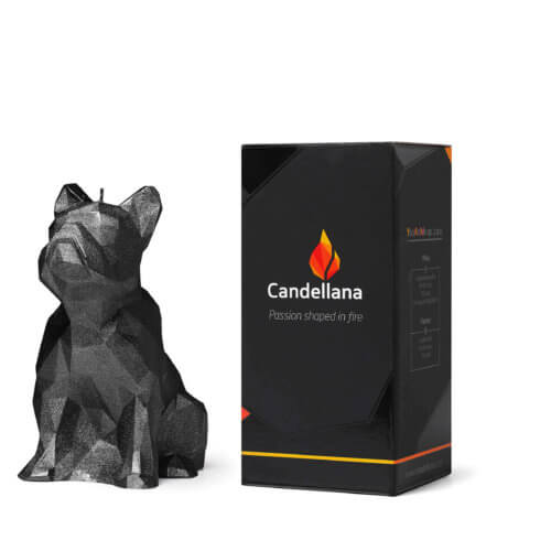 Candle Bulldog Low Poly Big Black High Glossy