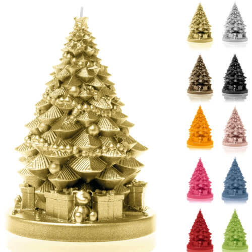 Candle Christmas Tree with Gifts Gold