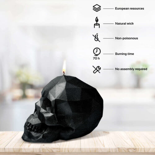 Candle Skull Low Poly Black