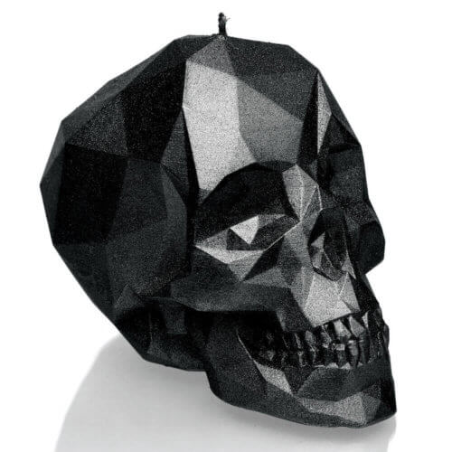 Candle Skull Low Poly Black High Glossy
