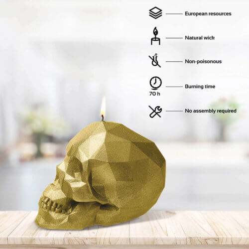 Candle Skull Low Poly Gold