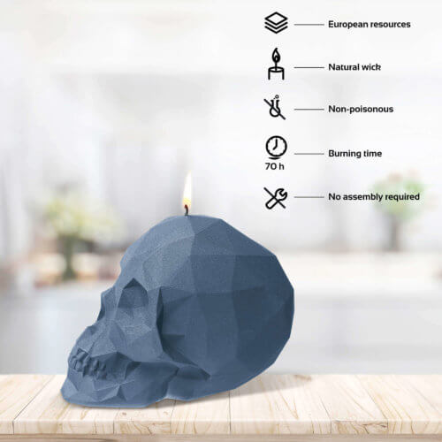 Candle Skull Low Poly Blue Metallic