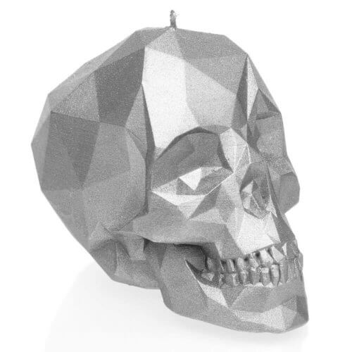 Candle Skull Low Poly Silver