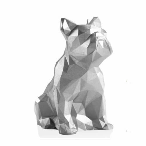 Candle Bulldog Low Poly Big Silver